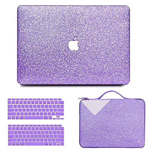 MacBook Air 13 Inch Case 2020 2019 2018 Release A2337 M1 A2179 A1932, Anban Glitter Bling Smooth Protective Case & Glitter Laptop Sleeve & Keyboard Cover Compatible for Mac Air 13 Inch with Touch ID