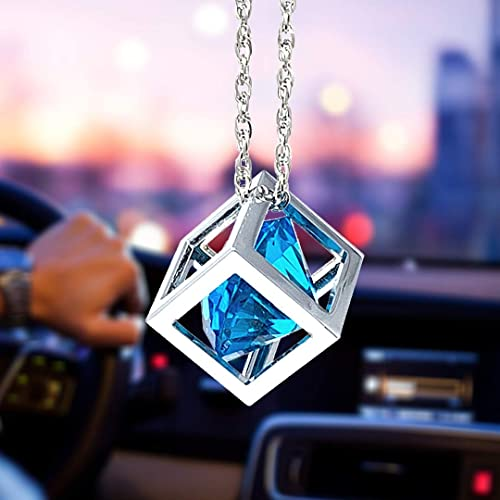 Blue Diamond Cube Crystal Car Rear View Mirror Charms, Bling Car Accessories, Sun Catcher Hanging Ornament w/Chain, C...