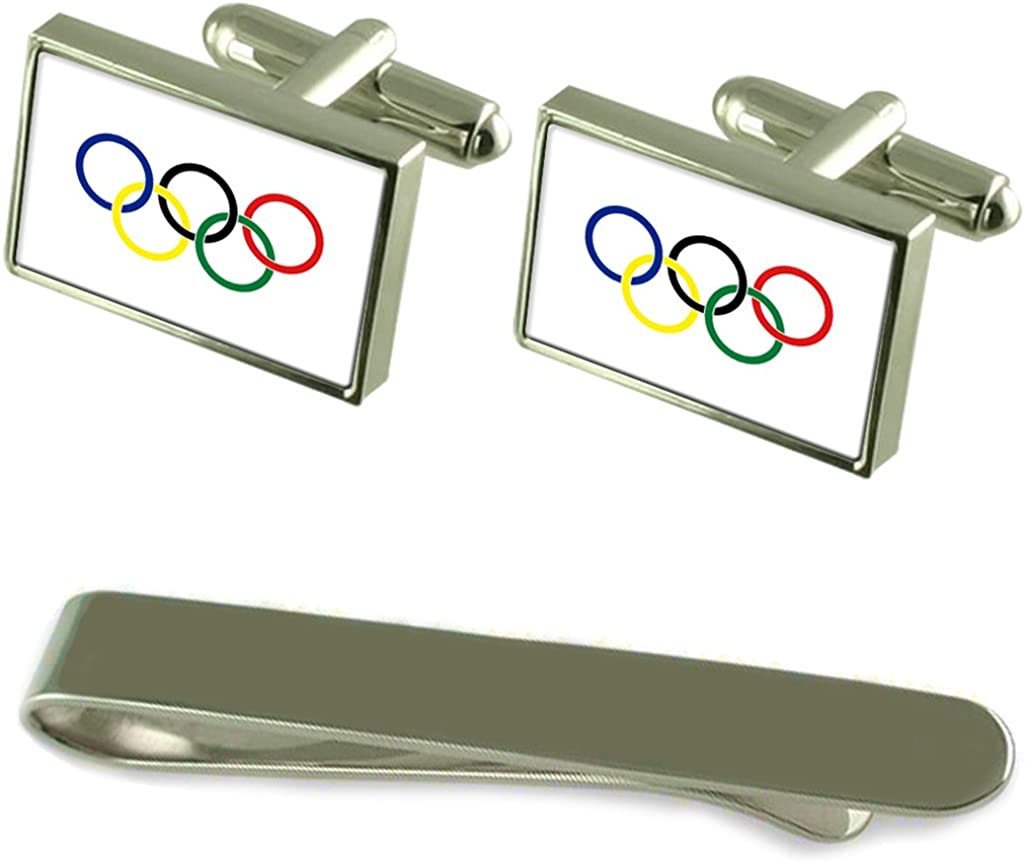 Olympic Movement Flag Silver Cufflinks Tie Gift Max 60% OFF Clip Engraved Ranking TOP9 Se