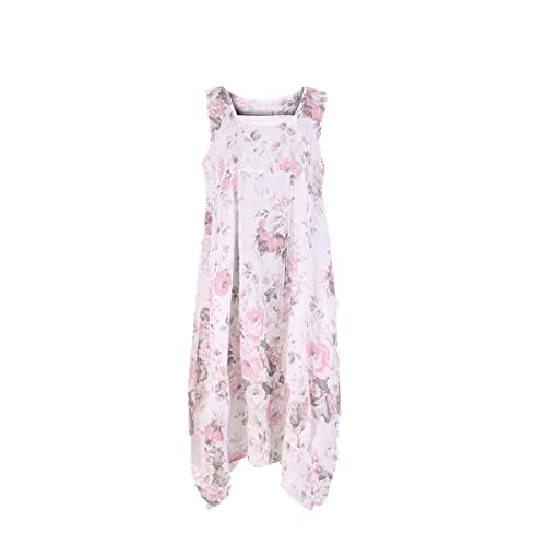 37c6e0a5a5 LushStyleUK New Ladies Italian Floral Sleeveless Linen Dress Women  Lagenlook Dress Plus Size
