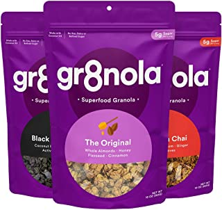 gr8nola Granola Cereal - VARIETY 3 PACK - The Original, Cinnamon Chai and Black Coco (Charcoal) Chia - Healthy, Low Sugar ...