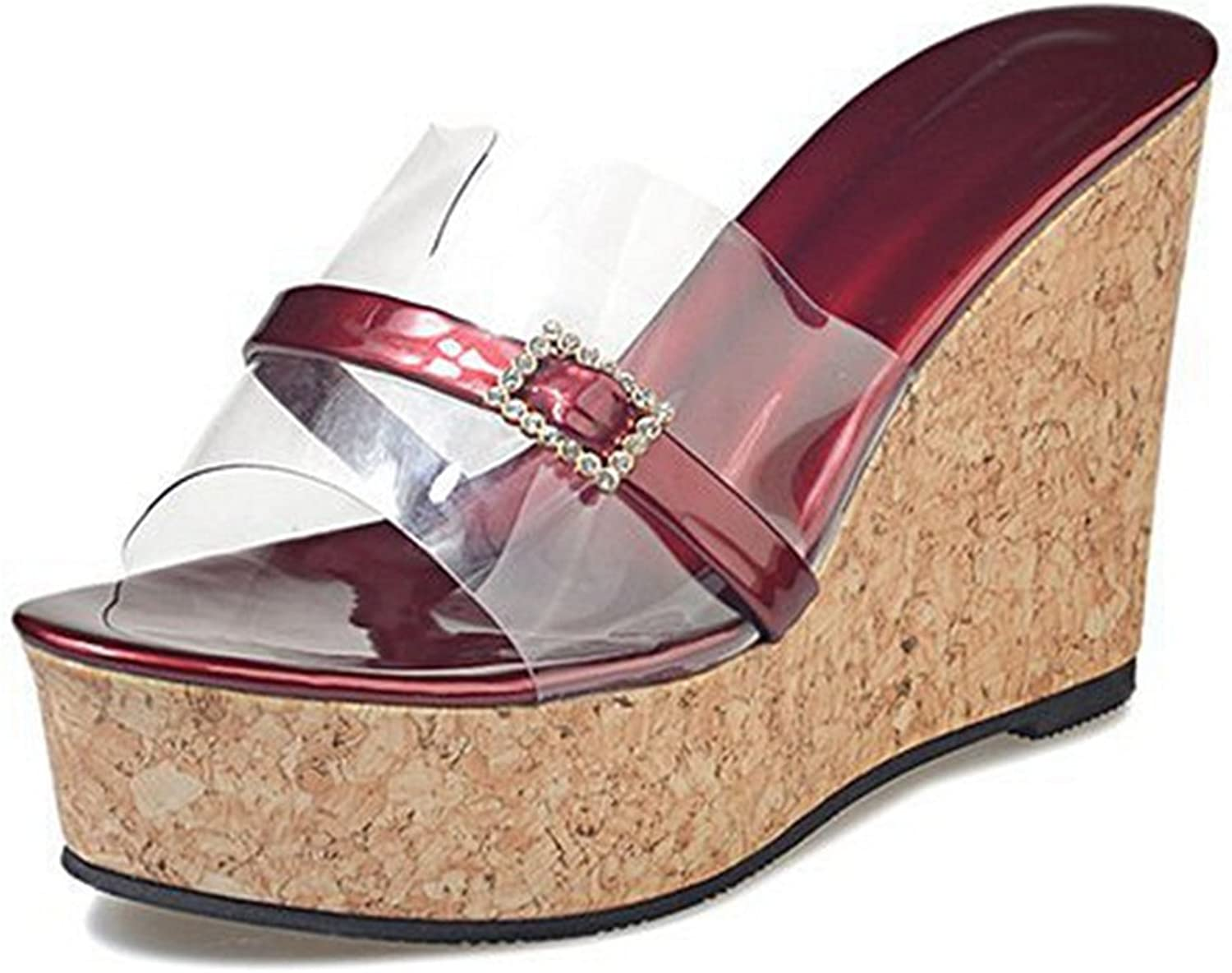 CYBLING Women's Open Toe High Wedge Slide Sandals Platform Cork Heel Flip Flop Slipper shoes