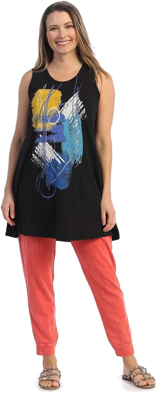Jess & Jane Women's Sunrise Mineral Washed Cotton Slub Sleeveless Tunic Top