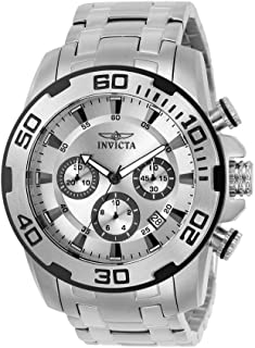 Men's 50mm Pro Diver Quartz Chronograph Watch with Stainless Steel Strap, Silver, 26 (Model: 22317-I, 22318)