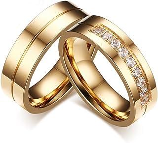 Simple Titanium Steel 18K Gold Diamond Jewelry Wedding Couple Rings