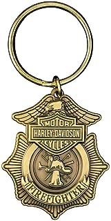 Harley-Davidson Firefighter Original 3D DieCast Key Chain, Antique Gold KY126526