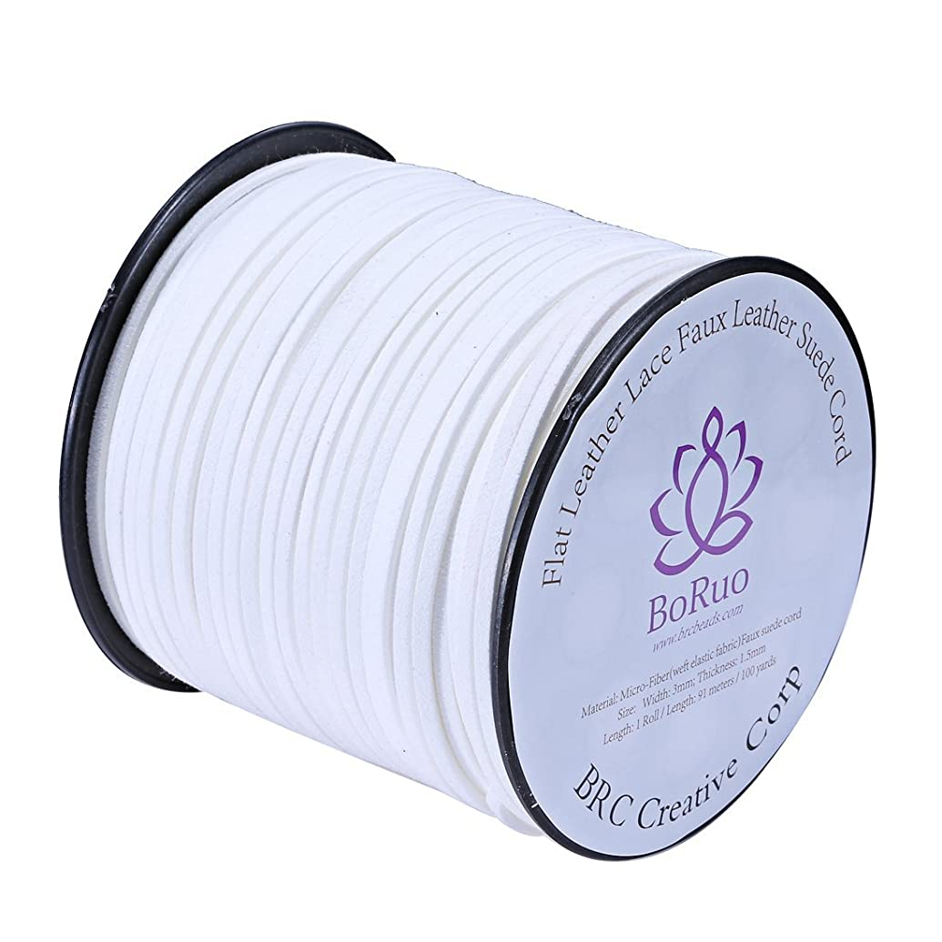 BoRuo Micro-Fiber Flat Leather Lace Beading Thread Faux Suede Cord String Velet 100 Yard Roll Spool 3mm White Color with Acrylic Jar