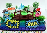 Powerpuff Girls Birthday Cake Topper Set Featuring Figures and Decorative Accessories