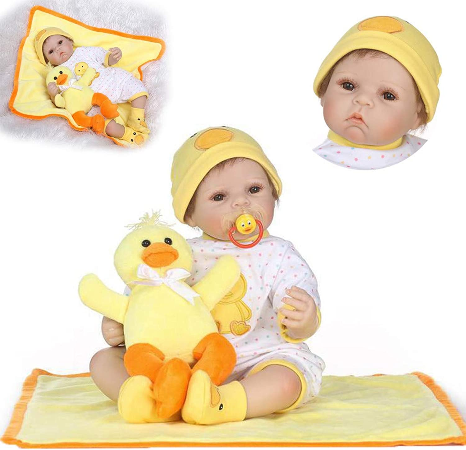 Bescita 55cm Cute Girl Dolls And Little Yellow Duck American Play Dolls Lifelike Reborn Baby Doll Handmade Silicone Vinyl Newborn Doll Kids Playmate Birthday Gift