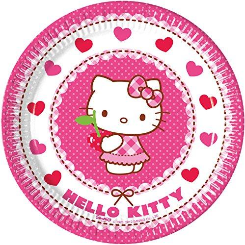PROCOS 29331 Hello Kitty Hearts - Platos de Papel, Color Rosa Y Blanco