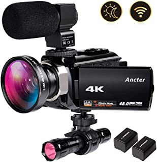 4K Video Camera Zohulu Camcorder, WiFi Vlogging Camera for YouTube with Microphone, 60FPS 48MP Ultra HD 16X Digital Zoom Night Vision Camera with IR Flashlight, Wide Angle Lens (2 Batteries Included)