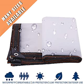 NMRCP Clear Transparent Tarps Heavy Duty Waterproof with Grommets 5Mil Multi Purpose Poly Tarp Polyethylene Tarpaulin for Patios and Outdoor Enclosures