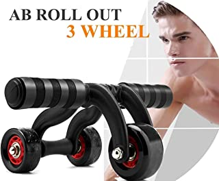 Cartshopper Full Body Exercise Core Fitness AB Roller Pro 3 Wheels Gym Portable House Exercise Equipment Abdominal Muscles Keep Fit Roller (Black)