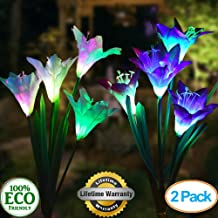 TONBUX Solar Ground Lights, Upgraded Garden Pathway Lights Outdoor Waterproof with 8 LED for Driveway, Deck, Garden, Landscape Lighting (2 Pack Lily, Purple and White)
