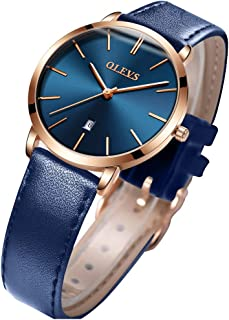 Women's Watches for Ladies Female Wrist Watch Leather Band Waterproof Thin Minimalist Fashion Casual Simple Dress Quartz Analog Classic Gift with Date Calendar