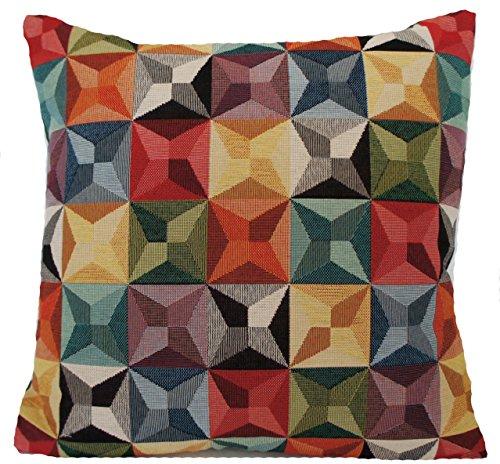 kaléidoscope Medium 40,6 cm Housse de coussin tissé Tissu de coton carré Noir Rouge Vert Designers B