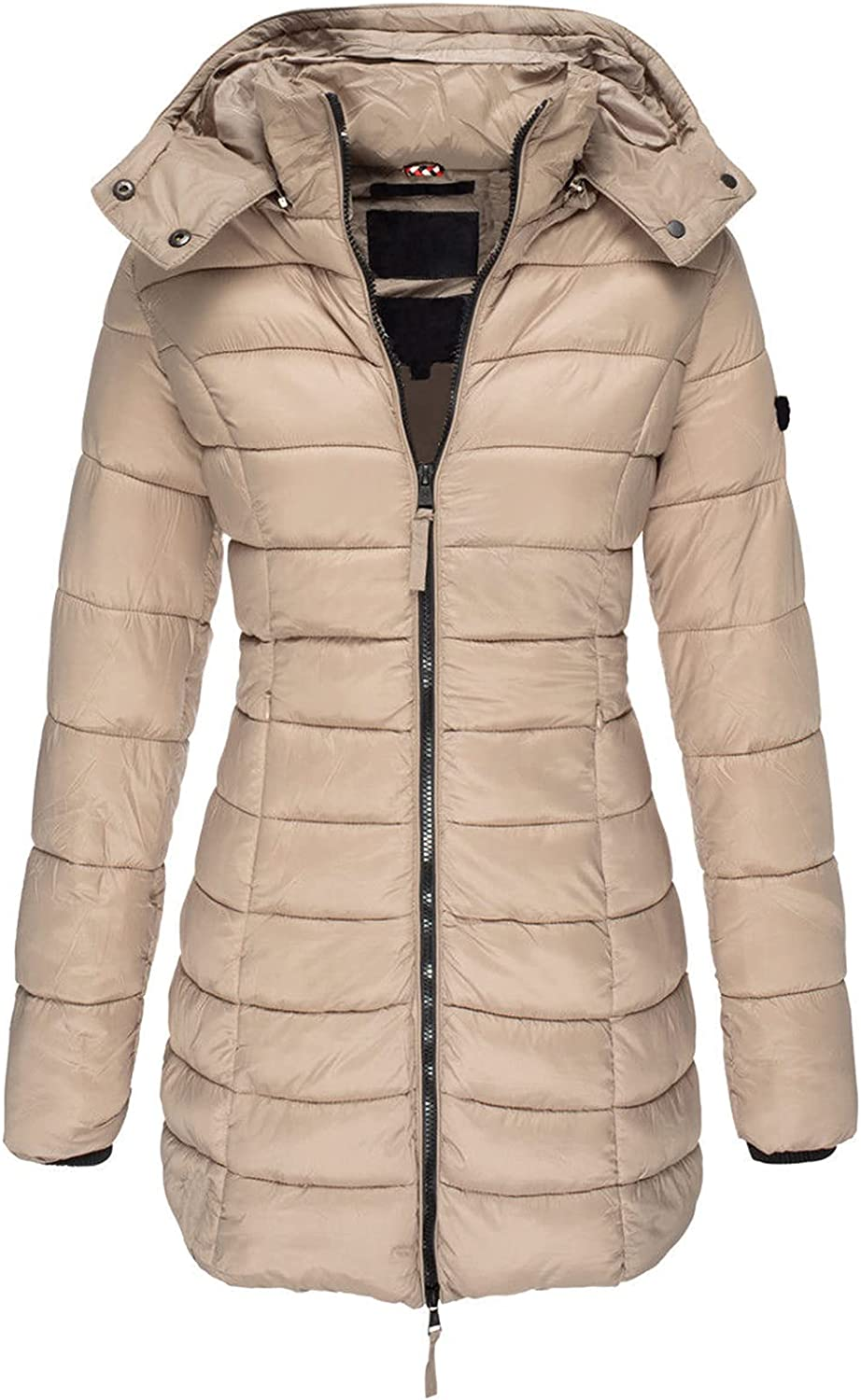 PEHMEA Women's Winter Warm Hooded Down Jacket Slim Fit Mid Long Quilted Padded Puffer Coat
