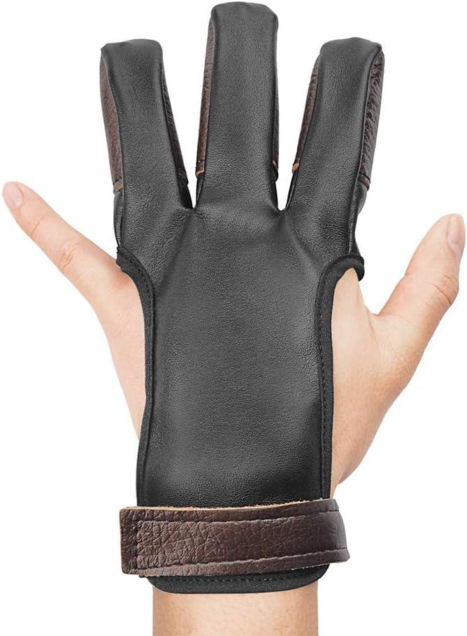 Guante de Tiro con Arco y Tres Dedos Protector de Dedos para Arquero experimentado Koowaa para Adultos Medium