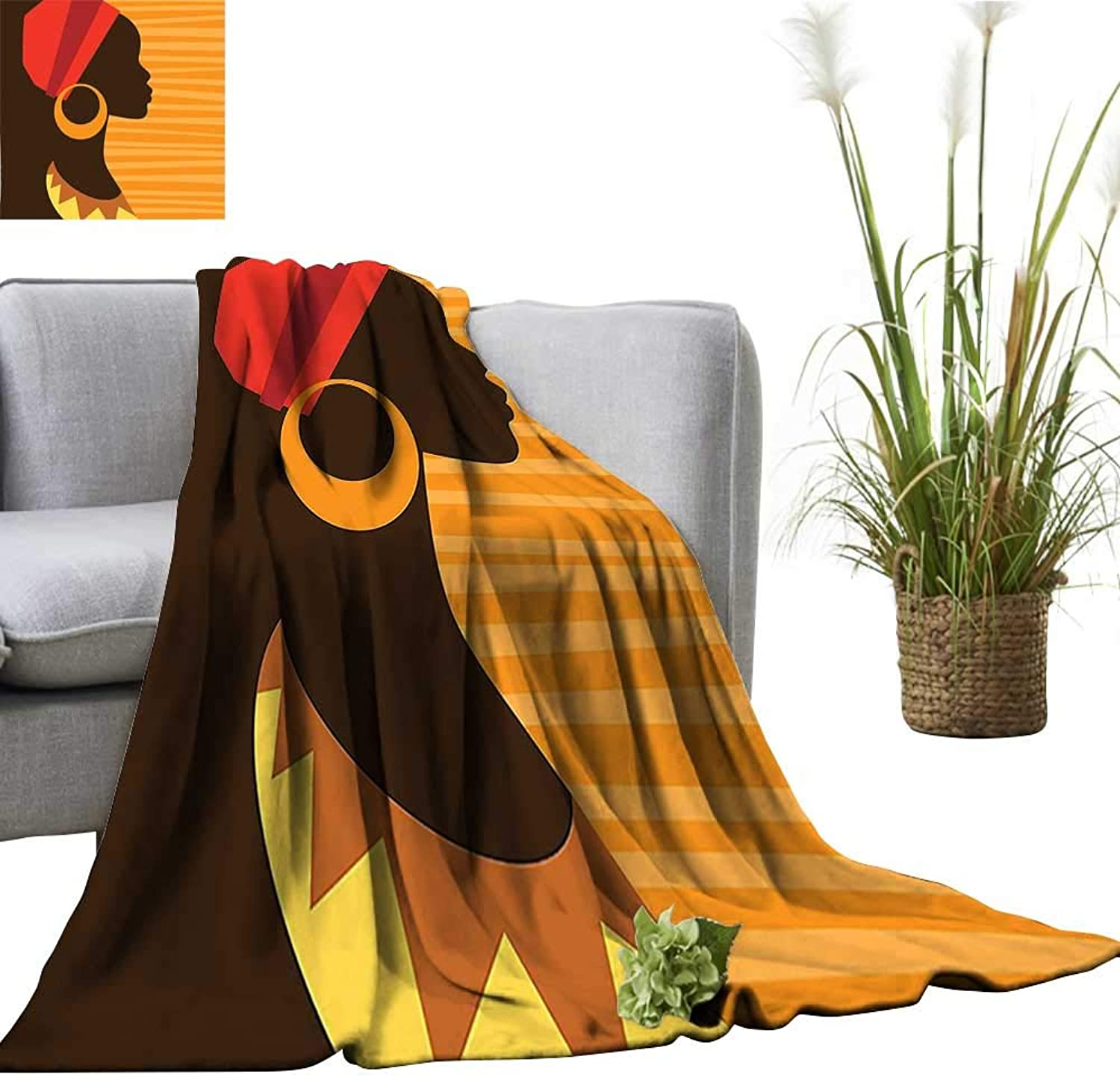 YOYI Super Soft Blanket Girl Profile Silhouette with Earrings Grace and Elegance Icon Image Dark Brown Merigold Bedsure Flannel 60 x78