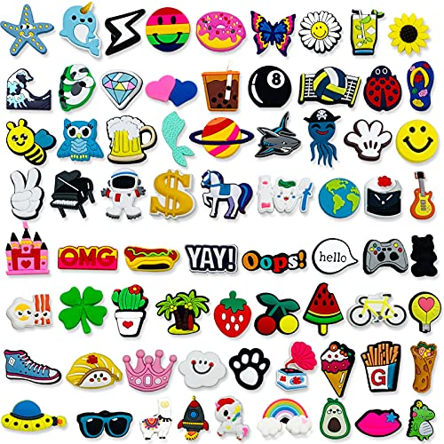 Kinearcharms 75pcs Mix style Shoe Charms for Clog Wristband Birthday Gift Cute Charms for Women Adult Teens Birthday Gift