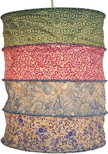 Guru-Shop Runde Papier Hängelampe, Lokta Papierlampenschirm Kailash, Handgeschöpftes Papier - Grün/pink/blau, Lokta-Papier, 35x28x28 cm, Handgemachte Deckenleuchte