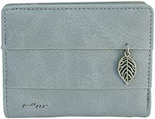 Woman Wallet Leather Short Vintage Small Purse Cute Credit Card Holder with Ornament Leaf (Color : Gray, Size : One Size)
