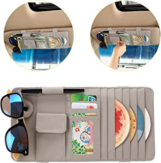 LELANCE Car Visor Organizer, Multi-Function Leather Sunshade Card Holder Bag Car Interior Accessories 4 Credit Cards Pockets + 1 Sunglasses Holder + 1 Pen Holder for Universal Truck Interior(Grey)