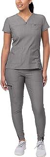 Adar Pro Movement Booster Scrub Set for Women - Sweetheart V-Neck Scrub Top & Yoga Jogger Scrub Pants
