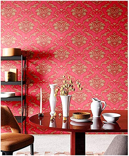 Blooming Wall Peel and Stick Vintage Pink Red Gold Damasks...