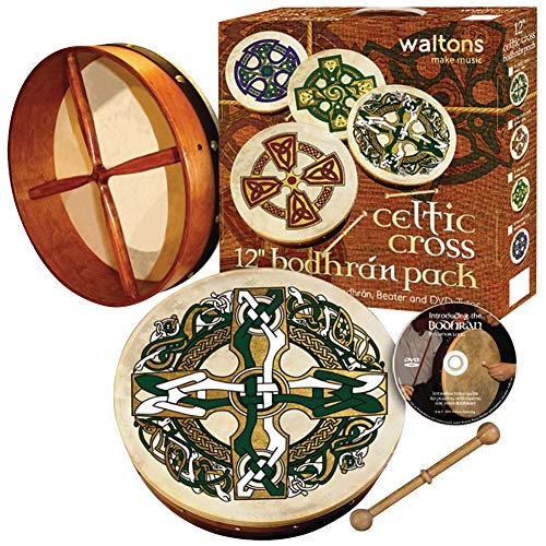 Waltons Bodhrán 12' (Celtic Cross) - Handcrafted Irish Instrument - Crisp & Musical Tone - Hardwood Beater Included w/ Purchase