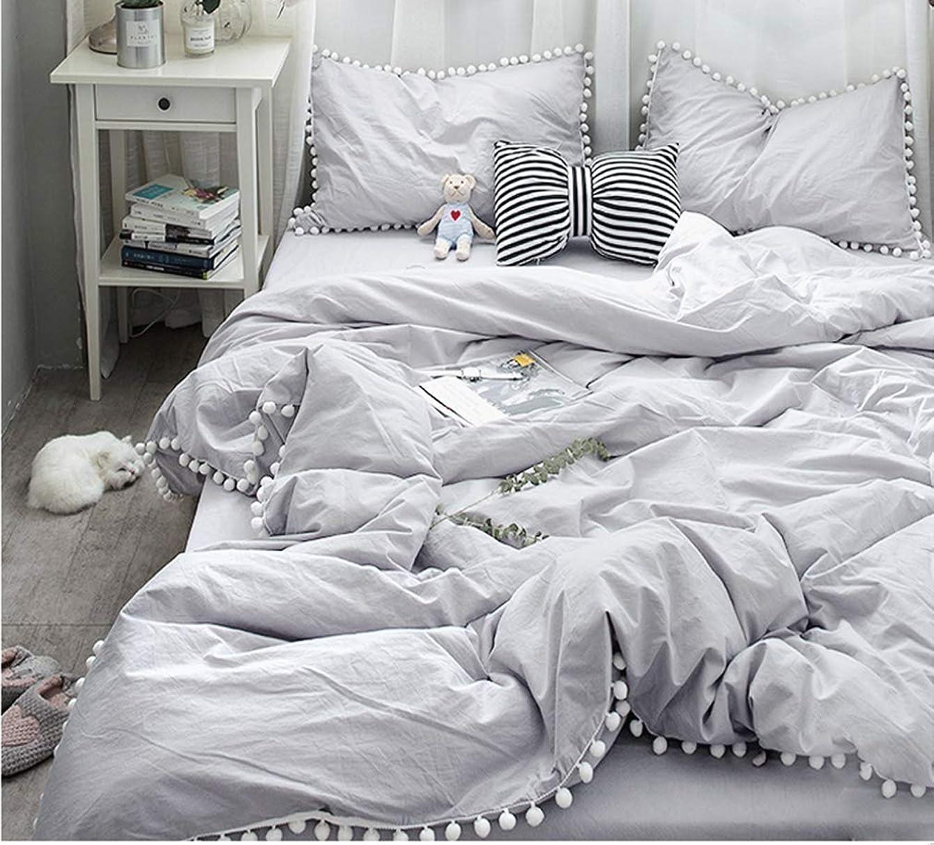代理店無駄ななにライトグレー寝具カバー/可愛いホワイトポンポン掛け布団カバー シングルと枕カバー2枚