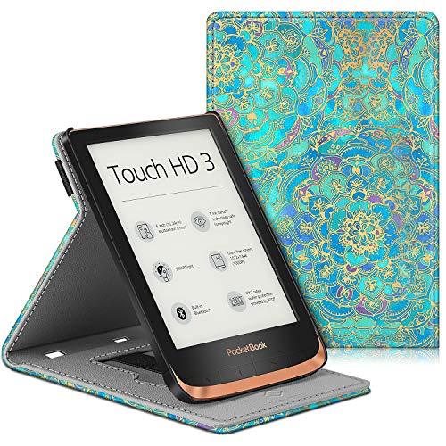 Fintie Hülle für Pocketbook Touch HD 3 / Touch Lux 5 / Touch Lux 4 / Basic Lux 2 / Color (2020) e-Book Reader - Multi-Sichtwinkel Schutzhülle mit Handschlaufe, Auto Sleep/Wake, Jade