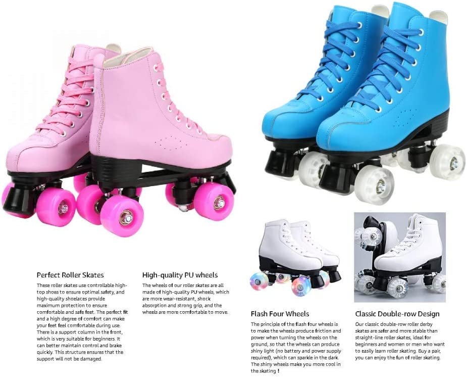 Women Roller Skates PU Leather High-top Roller Skates Four-Wheel Roller Skates Shiny Roller Skates for Unisex Kids and Adults