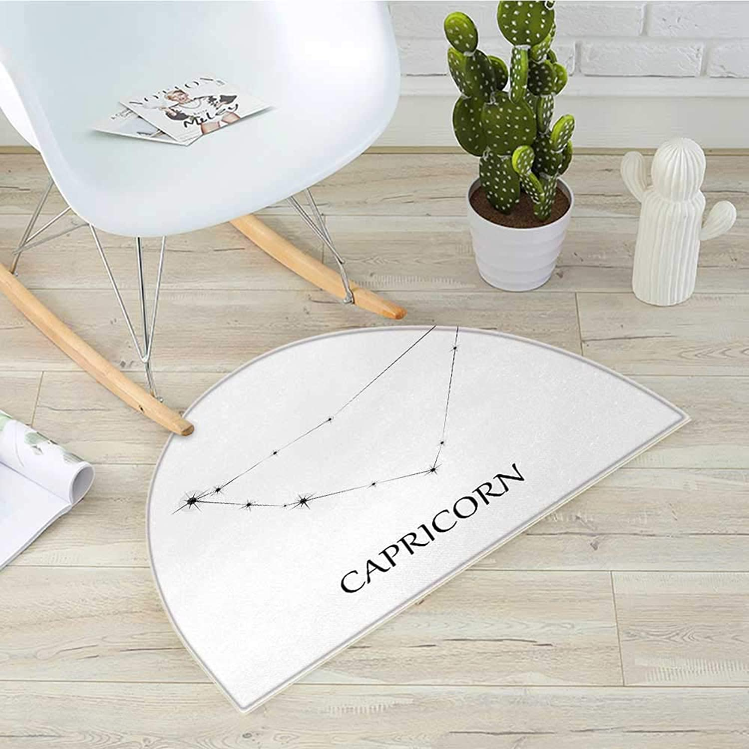 Zodiac Capricorn Semicircle Doormat Capricorn Constellation with Aligned Stars Astronomical Elements Halfmoon doormats H 43.3  xD 64.9  Black and White