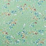 Baumwoll Viskose Mix Pastell Blumen – mintgrün —