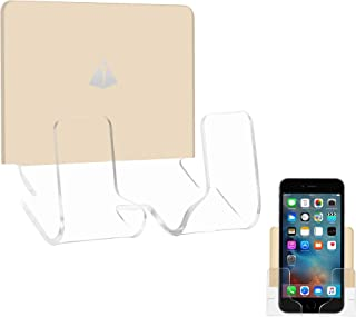 TXesign Adhesive Wall Phone Holder Mount for Smartphones iPhone External Battery Wall Holder Mount(Silky Beige & Transparent)