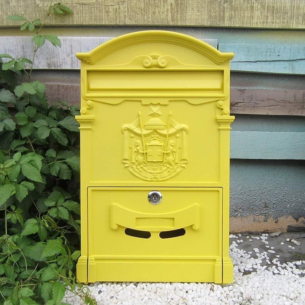 ブラシ負荷巨大な安全なレターボックスメールボックスホルダーの外側ロック可能な防水メールレターポストボックス (Color : Yellow)