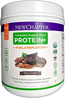 New Chapter Organic Plant Protein+ Fuel & Replenish Chocolate, Vegan Protein Powder, Plant Based Protein Powder + BCAA Amino Acids - 15 Servings, No Sugar, Low Carb Dairy Free, Non-GMO, Kosher