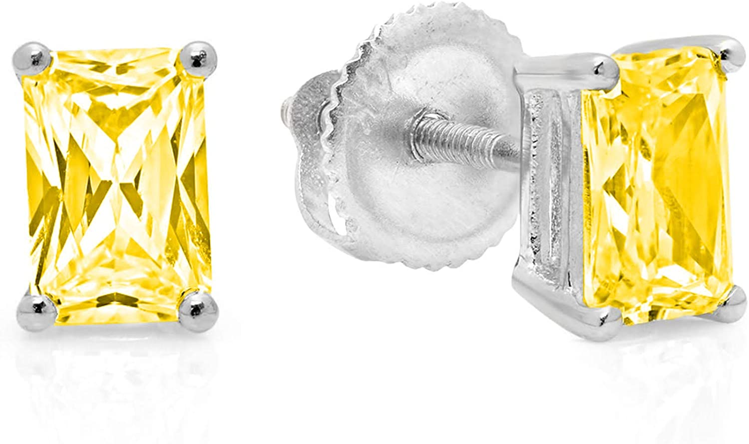 1.94cttw Emerald Cut ideal VVS1 Conflict Free Gemstone Solitaire Genuine Canary Yellow CZ Unisex Designer Stud Earrings Solid 14k White Gold Screw Back