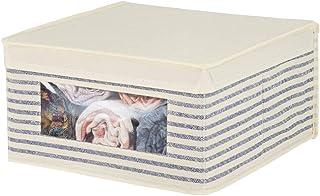 mDesign Boite de Rangement empilable Tissu pour vêtements, Linge, etc. – bac de Rangement Taille Moyenne à fenêtre & Couve...