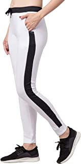 American-Elm White Cotton Slim Fit Stylish Side Stripes Track Pants for Women | Tigts (White, Black_M)