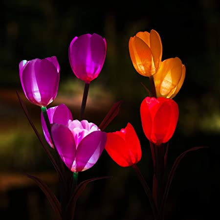 Amazon Com Garden Art Outdoor Solar Tulip Led Flower Light Solar Garden Stake Flowers Decorative Solar Patio Lawn Lamp Path Landscape In Ground Light Up Flowers Lights 2pcs Red And Beige Garden