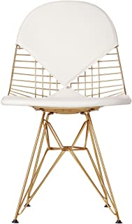 Design Tree Home Bikini Style Dining Side Accent Chair in Champagne Gold