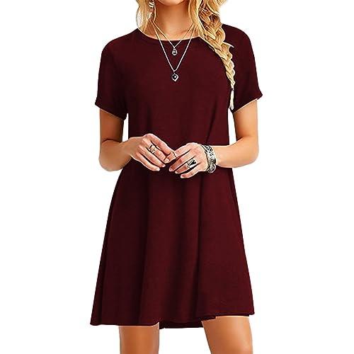 d91fc7a7a76 YMING Women s Long Shirt Mini Loose Summer Dress Basic Tops Casual T-Shirt  Dress 16