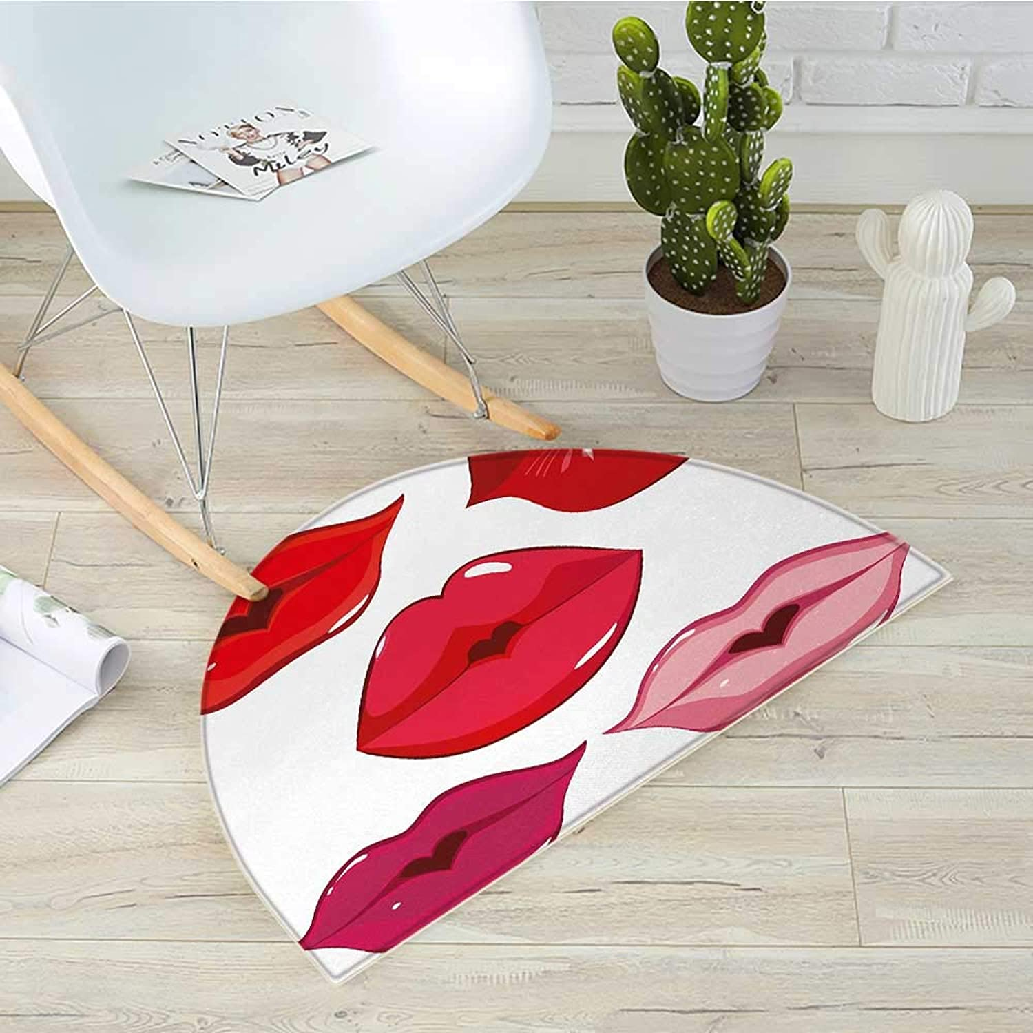 Kiss Semicircular CushionWoman Sexy Lip Heart Shape Kiss Female Valentine Affection Amour Make Up Entry Door Mat H 39.3  xD 59  Red pink Pink White