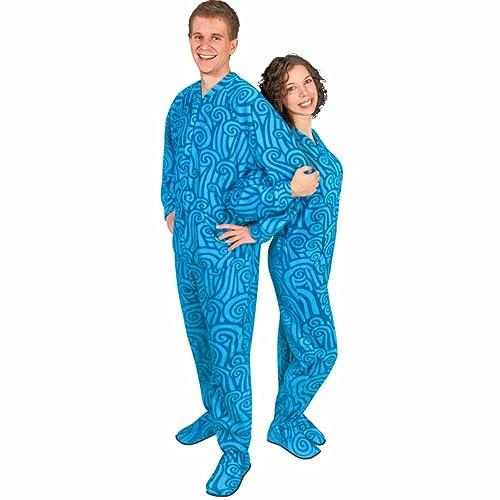 Adult Drop Seat Footie Pajamas Fleece Wave Design e95d9ef04