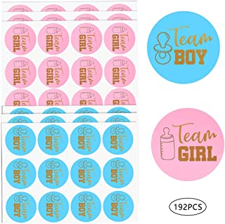 192 PCS Team Boy Team Girl Stickers, Pink and Blue Stickers Gold Gender Reveal Party Team Stickers Baby Shower Sticker Labels Round Circle Labels Stickers for Gender Reveal Party Supplies