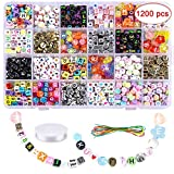 Farielyn-X 1200PCS Letter Beads 24 Types Acrylic Letter Beads with 2 Rolls Elastic Bracelet String for Bracelets Craft Beads for DIY A-Z Alphabet Letter Beads for Jewelry Making Necklaces, Key Chains…