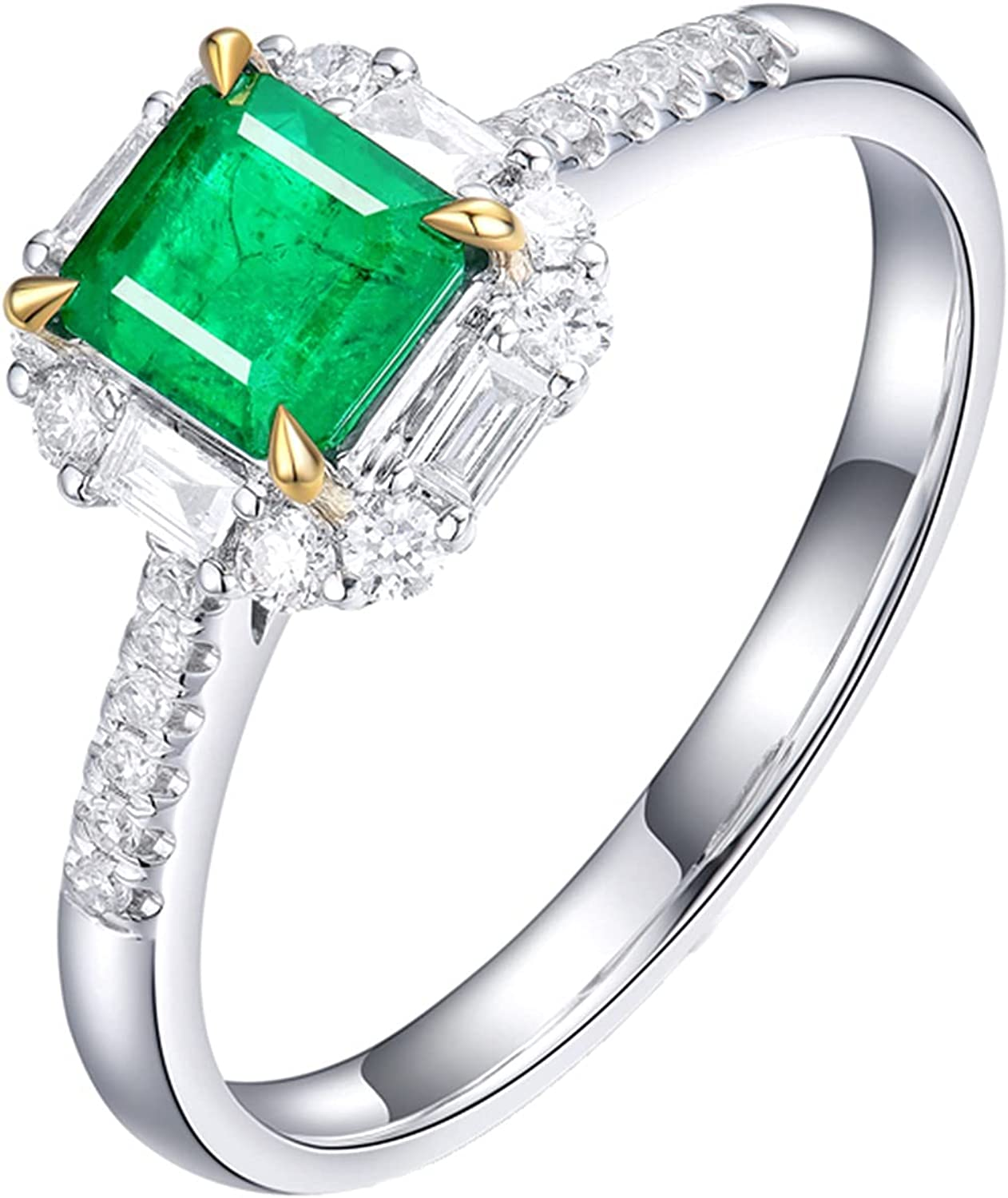 Epinki Complete Free Shipping Women 18K White Gold Ring Green overseas 0.56ct wit Emerald Square