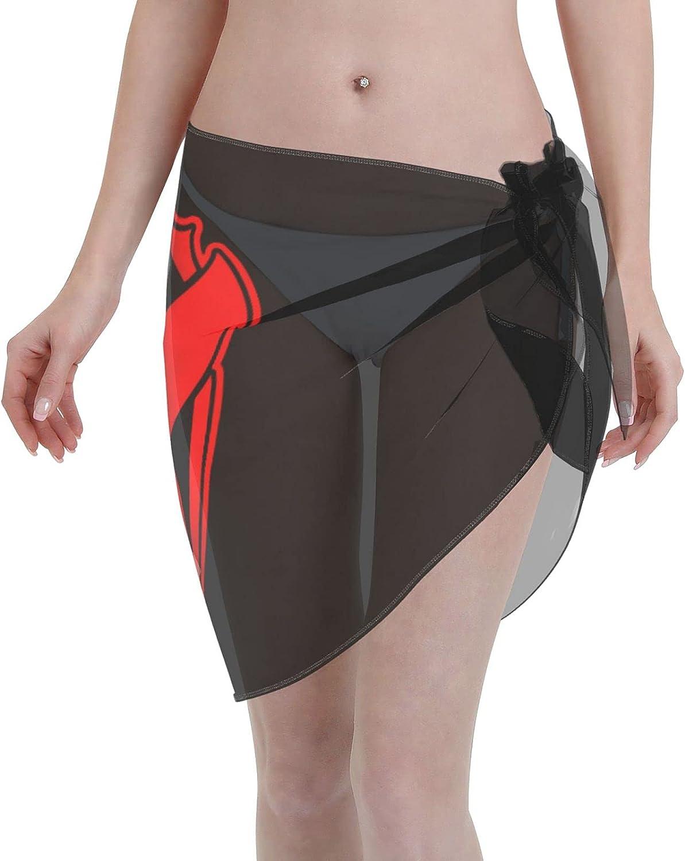 Tomorrowland Women Short Sarongs Beach Wrap Sheer Bikini Wraps Chiffon Cover Ups for Swimwear Sexy Wrap Around Dress Black